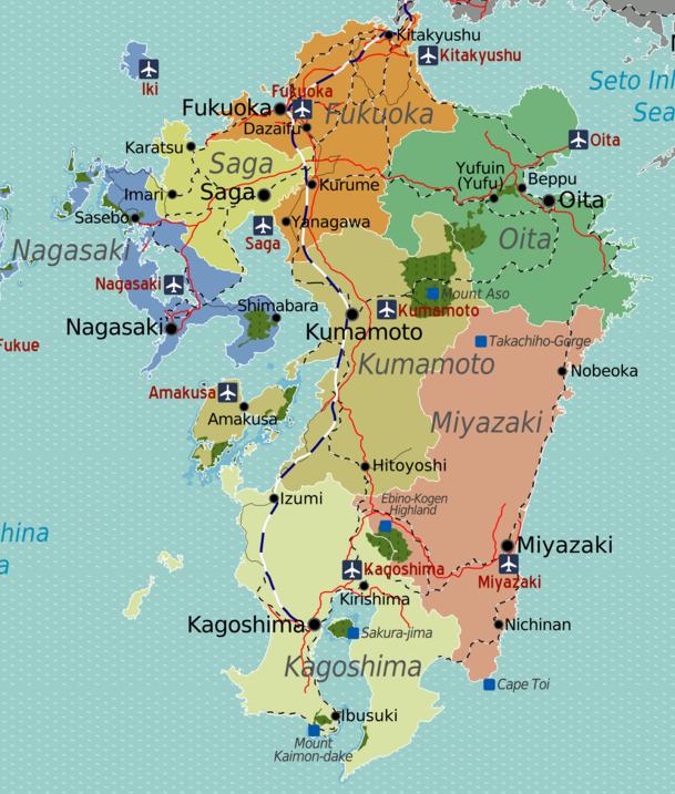 About Kumamoto Prefecture Explore Kumamoto 火の国 - Japan map kyushu